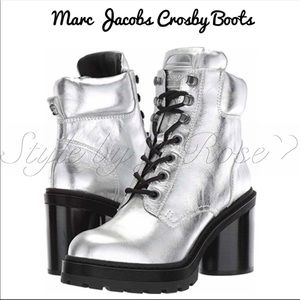 NWOB Marc Jacobs Silver Combat Boots